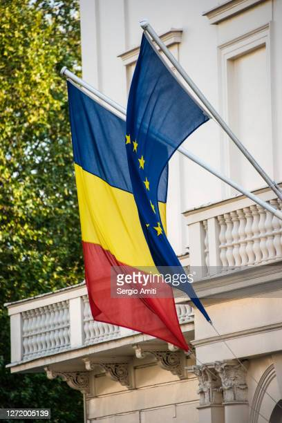 romania and european union flags - diplomacy stock pictures, royalty-free photos & images