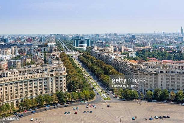 Romania, Bucharest City, Unirii Boulevard from Parliament building.