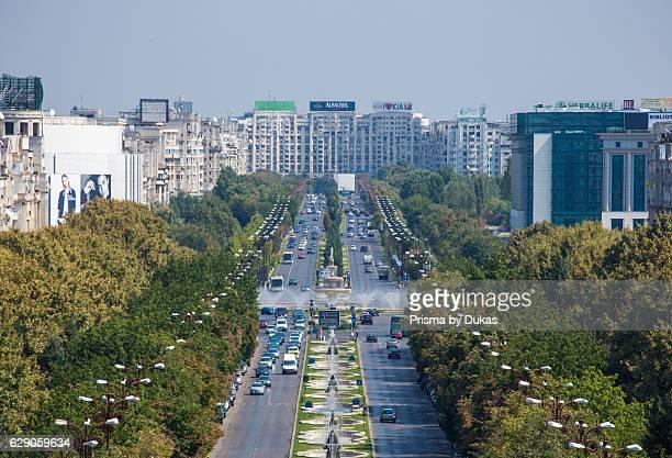 Romania Bucharest City Unirii Boulevard from Parliament building