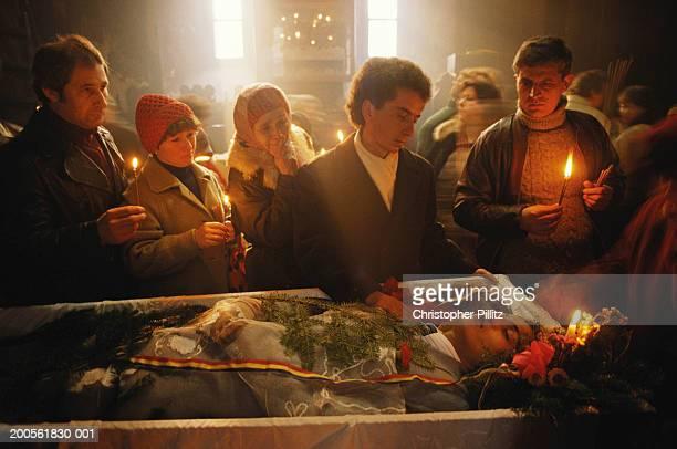 Romania, Bucharest, funeral of fallen heroes of revolution, coffin