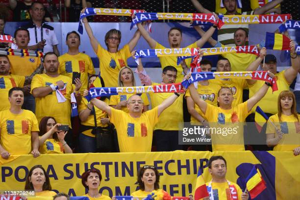 Romania fans during the Fed Cup semifinal between France and Romania on April 21 2019 in Rouen France