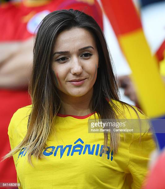 Romania fans enjoy the prematch build up to the UEFA Euro 2016 Group A match between Romania and Albania at Stade de Lyon on June 19 in Lyon France