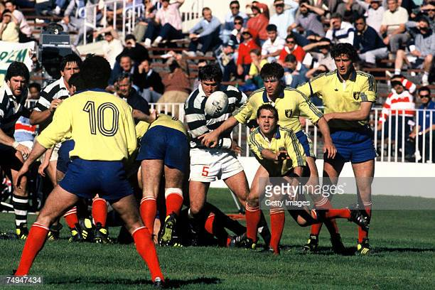 Romania go on the attack during the 1987 Rugby World Cup Pool 4 match between Romania and Zimbabwe at Eden Park on May 22 1987 in Auckland New Zealand
