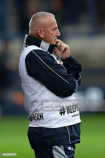 Romania National Rugby coach Lynn Howells looks on during the World Cup warm up friendly between Yorkshire Carnegie and Romania at Headingley...