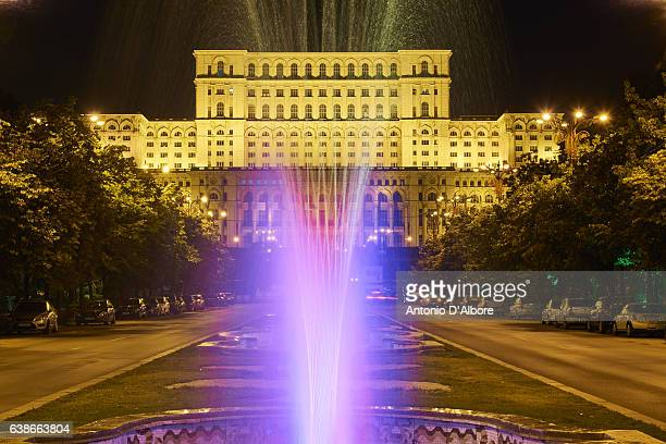 Romania Parliament Palace by Night