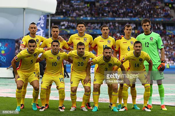 Romania playersr line up for the team photos prior to the UEFA Euro 2016 Group A match between France and Romania at Stade de France on June 10 2016...