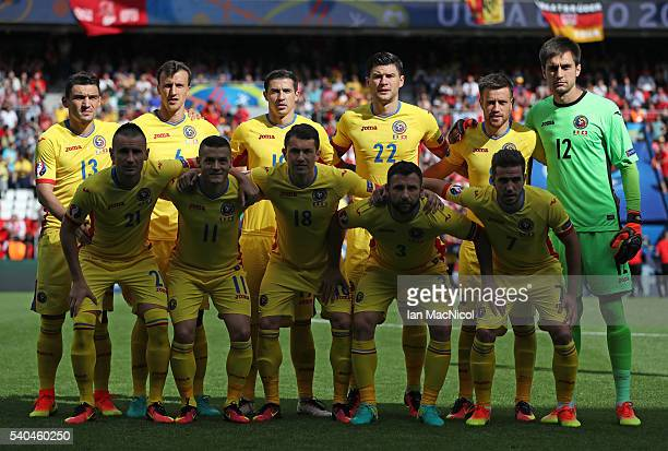 Romania pose for a photograph during the UEFA EURO 2016 Group A match between Romania and Switzerland at Parc des Princes on June 15 2016 in Paris...