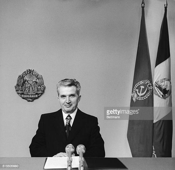 President of the Socialist Republic of Romania Nicolae Ceausescu delivering the traditional New Year Message 1981 at the Romanian Radio and TV Posts