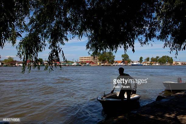Romania, Sulina, boat crossing the Danube