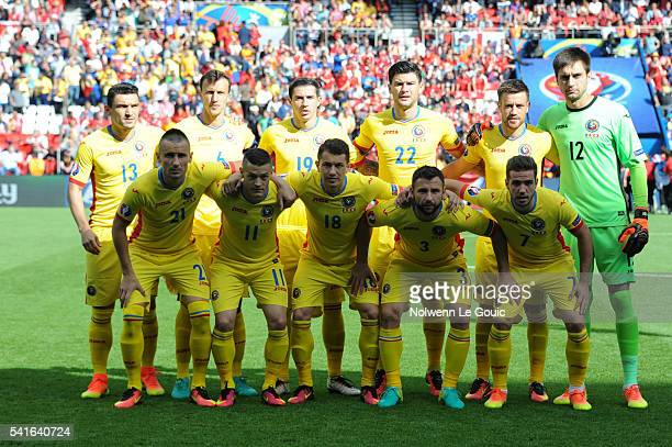 Romania team during the UEFA EURO 2016 Group A match between Romania and Switzerland at Parc des Princes on June 15 2016 in Paris France