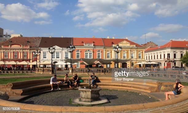 Romania, Timisoara, Piata Unirii, fountain