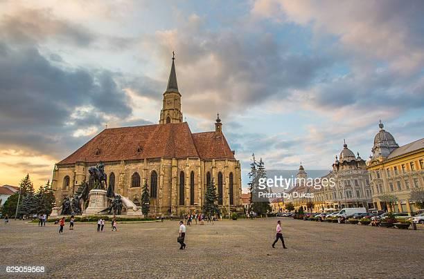 Romania Transylvania Cluj Napoca City Mathia Rex Monument St Michael's Church Unirii Square