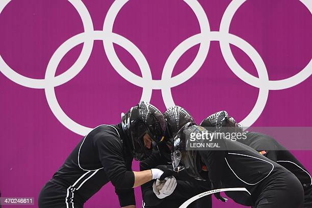 Romania1 fourman bobsleigh steered by Andreas Neagu takes part in the first fourman Bobsleigh official training during the Sochi Winter Olympics at...