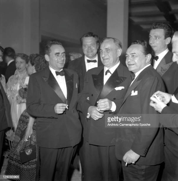 Romanian actor Edward G Robinson at an evening party with Orson Welles Venice 1948