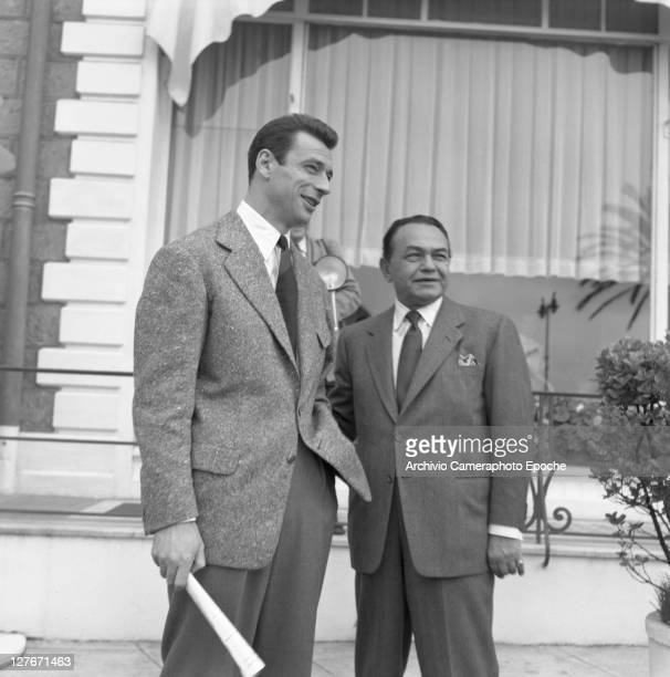 Romanian actor Edward G Robinson with french actor Yves Montand Cannes 1950