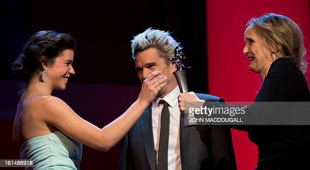 Romanian actress Ada Condeescu receives her Shooting Star award from French actress Julie Delpy during the 63rd Berlinale Film Festival in Berlin...
