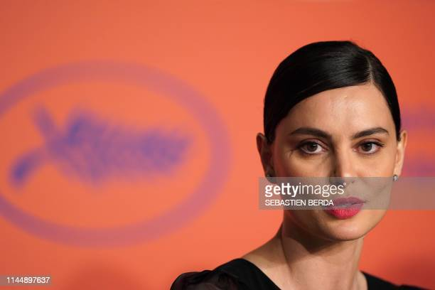 Romanian actress Catrinel Marlon talks during a press conference for the film The Whistlers at the 72nd edition of the Cannes Film Festival in Cannes...