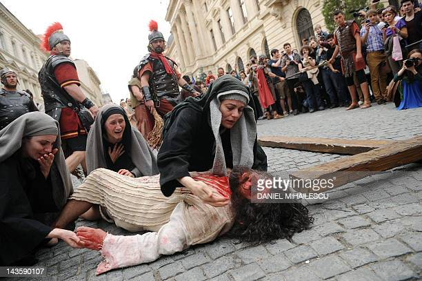 Romanian actress Maia Morgenstern plays the role of the mother of Jesus as she plays in the movie directed by Mel Gibson while actors reenact the...