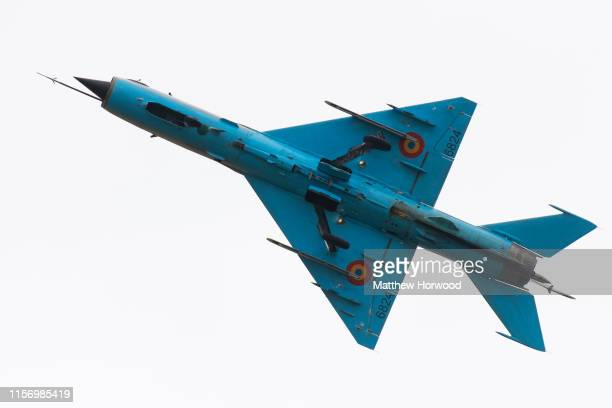 Romanian Air Force MiG21 LanceR performs during the International Air Tattoo at RAF Fairford on July 21 2019 in Fairford England The Royal...
