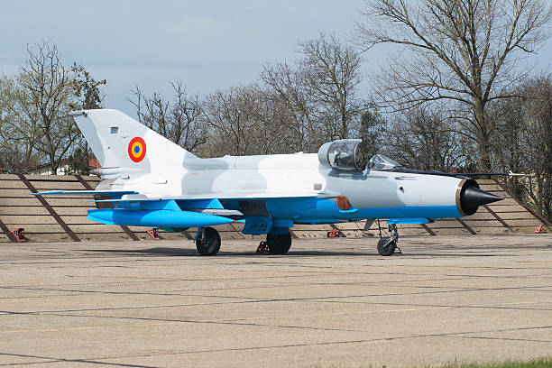 A Romanian Air Force MiG-21MF LanceR-C on the ramp at an airbase in Romania.