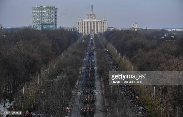 Romanian army forces take part in the military parade on Romania's National Day in Bucharest December 1 2018 Romanias 100th National Day marks the...