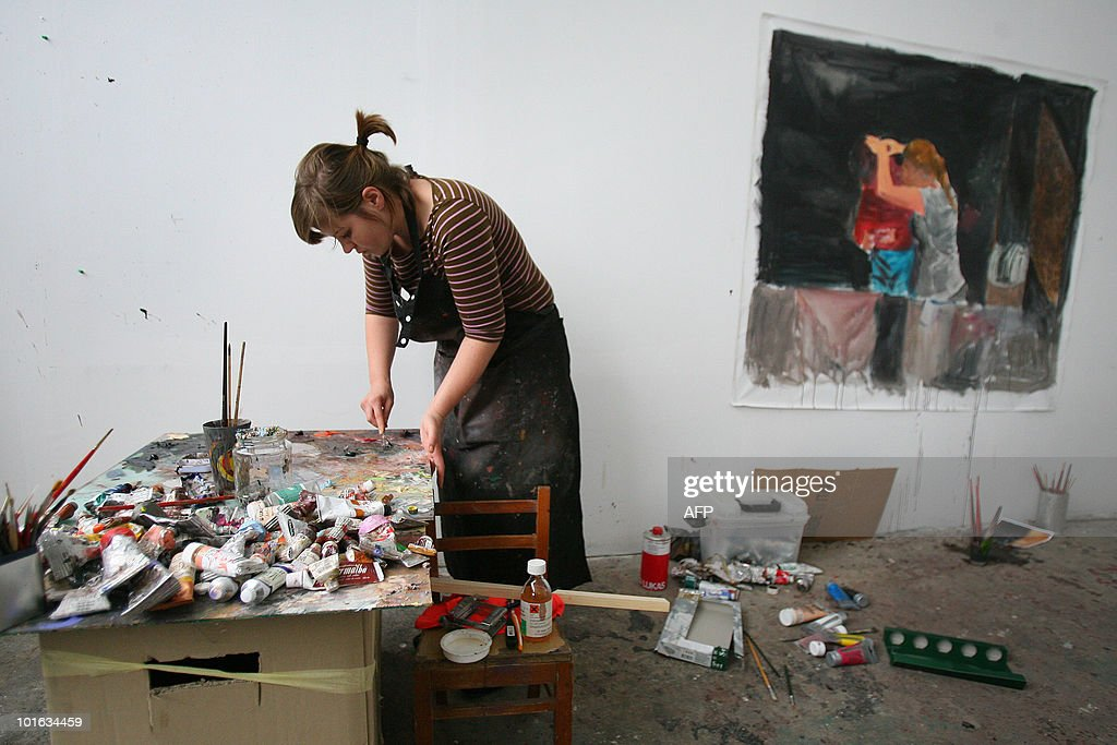 Romanian artist Oana Farcas works at the Fabrica de Pensule (The Brushes Factory) in Cluj-Napoca city some 480 kms northwest from Bucharest on June 3, 2010