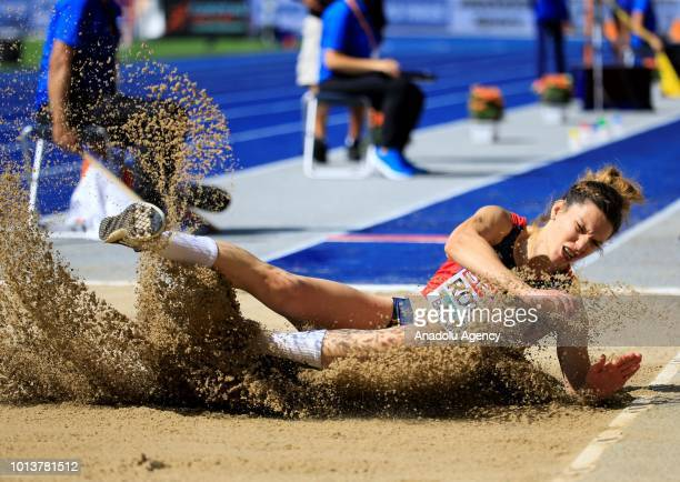 Romanian athlete Alina Rotaru competes in the women's Long Jump qualification during the fourth day of the 2018 European Athletics Championships in...