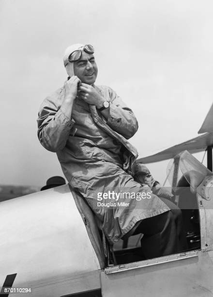 Romanian aviator Prince Constantin Cantacuzino arrives at Hatfield Aerodrome in his Jungmeister biplane for the Festival of Britain National Air Race...