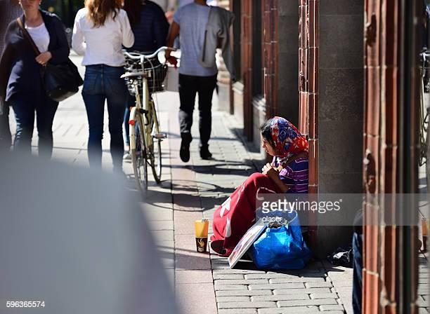 Romanian beggar on the streets of Stockholm
