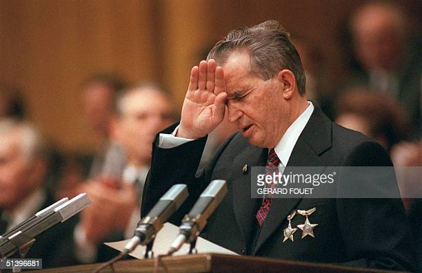 Romanian Communist Party general secretary and President Nicolae Ceaucescu's addresses 20 November 1989 in Bucharest the party members during the...