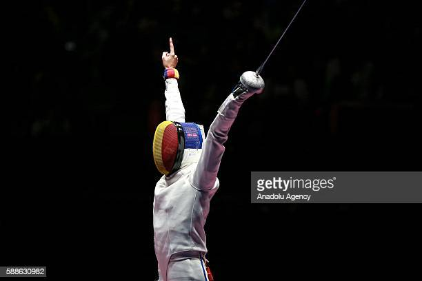Romanian contestants celebrate after the women's individual fencing event of the Rio 2016 Olympic Games between China and Romania on August 12 2016...