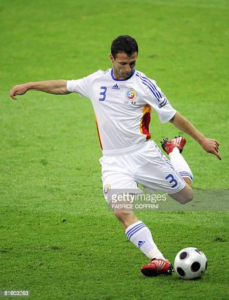 Romanian defender Razvan Rat kicks the ball during the Euro 2008 Championships Group C football match Netherlands vs Romania on June 17 2008 at the...
