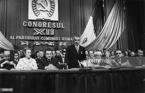 Romanian dictator Nicolae Ceausescu opens a session of the Congress of the Romanian Communist Party