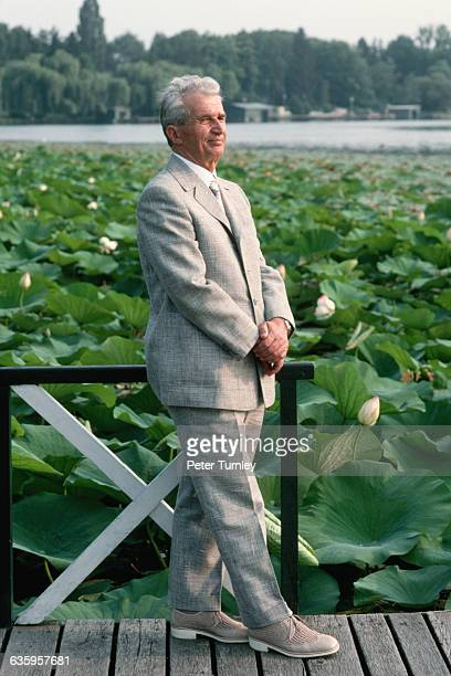 Romanian dictator Nicolae Ceausescu poses beside a pond blooming with water lilies at his villa near Bucharest in August 1989 | Location Near...