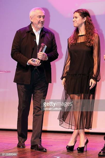 Romanian director Dan Chisu and actress Ada Condeescu attends closing ceremony of 32nd Mons International Love Film Festival at Royal Theater on...