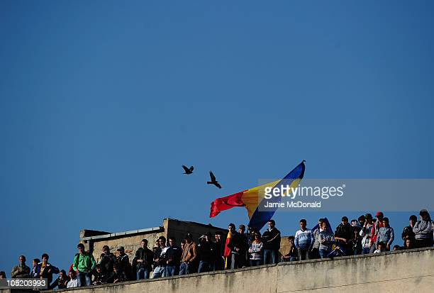 Romanian fans show there colors during the UEFA Euro 2011 U21 Championship play-off, second leg match between Romania U21 and England U21 at the...