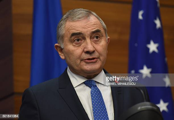 Romanian Foreign Minister Lazar Comanescu delivers a speech at Romanian Foreign Ministry headquarters for the Romanian Foreign Ministry during a...