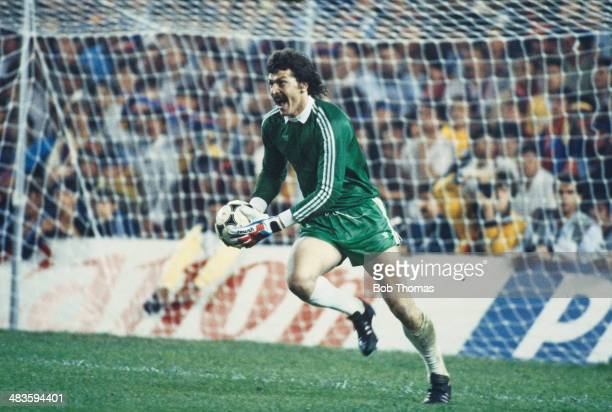 Romanian goalkeeper Helmuth Duckadam of FC Steaua Bucuresti celebrates after saving the last of FC Barcelona's penalties at the European Cup Final at...