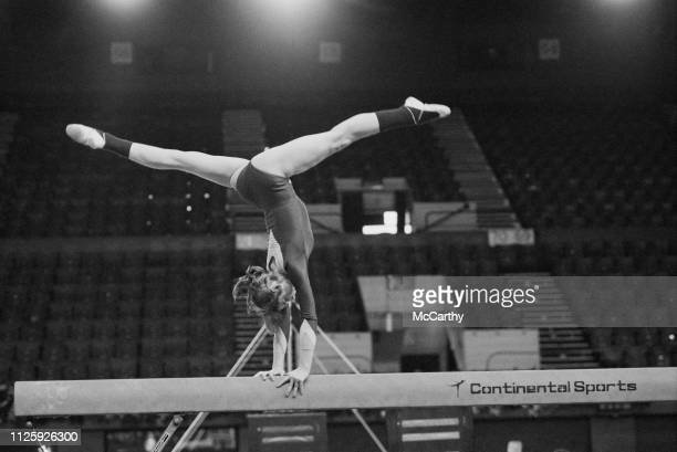 Romanian gymnast Nadia Comaneci practicing on the balance beam UK 16th April 1977