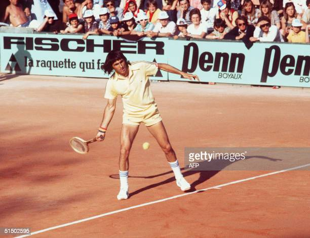 Romanian Ilie Nastase returns a ball during the Paris International tournament in June 1977 Nastase won the Forrest Hills championships in 1972 and...