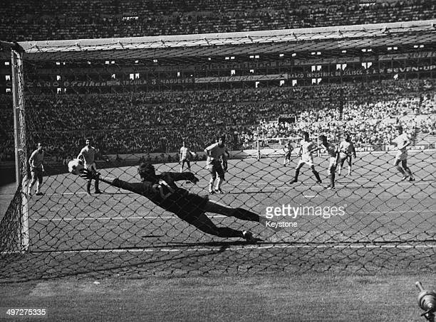 Romanian keeper Stere Adamache saves a shot during the group match between Brazil and Romania at the 1970 FIFA World Cup Estadio Jalisco Guadalajara...