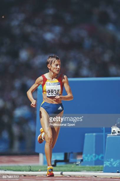 Romanian long distance runner Lidia Simon pictured in competition to finish in second place to win the silver medal for Romania in the Women's...