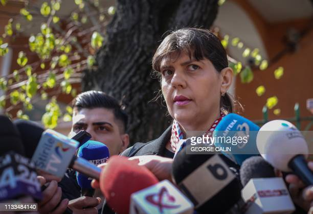 Romanian magistrate Laura Codruta Kovesi former DNA chief arrives at a police station in Bucharest on March 29 2019 as she has to report regularly to...