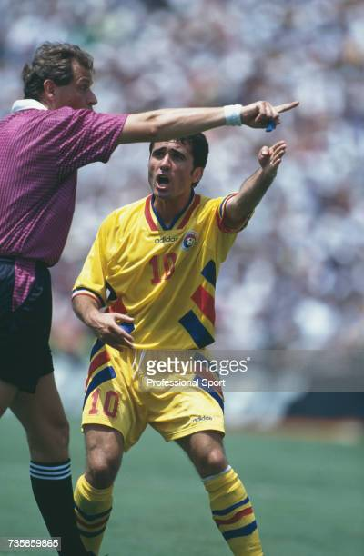 Romanian midfielder and captain of the national side Gheorghe Hagi pictured in action appealing against Italian referee Pierluigi Pairetto's decision...