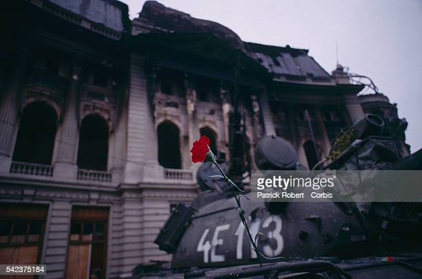 A Romanian military tank outside the House of the People is decorated with a single red carnation days after the December 1989 uprising which marked...