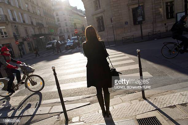 LACUT Romanian model Ioana Timoce walks in a street on her way to an appointment on January 16 2013 in Paris Ioana Timoce works with the agency H...