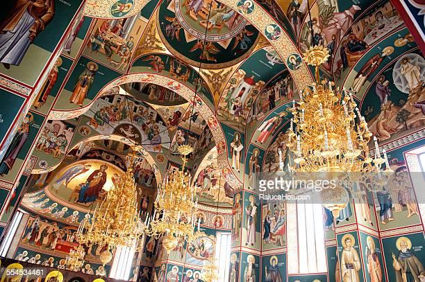 romanian monastery - interior - moldavia fotografías e imágenes de stock