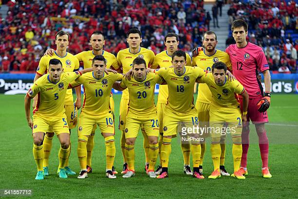 Romanian national football team poses for photo during the UEFA Euro 2016 Group A match between Romania and Albania at Stade de Lyon in Lyon France...