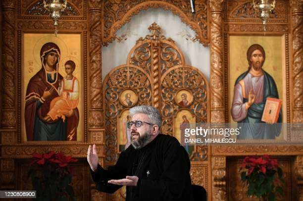 Romanian Orthodox priest Dorel Galan is pictured inside his church in Cluj Napoca city, Romania, on January 24, 2021. - When Romanian Orthodox priest...