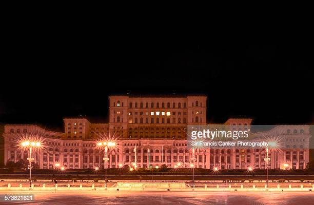 Romanian Parliament building illuminated at night